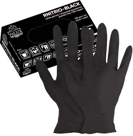 Перчатки нитриловые VitLUX Black 100шт РАЗМЕР ( М ), фото 2