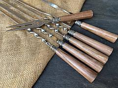 """Набор для пикника: шашлычные шампуры, шампур для птицы с вилкой """"Ясень шимо"""", в колчане из кожи, фото 3"""