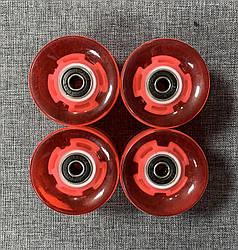 Набор колес LED для Пенни Борда - Светятся - Красные