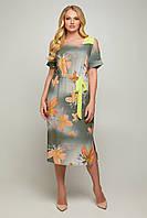 Женское,нарядное летнее прямого кроя, длинное платье из софта с принтом. Большого размера Р-50, 52, 54, 56