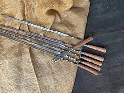 """Набор для пикника: шашлычные шампуры, шампур для птицы с вилкой """"Ясень шимо"""", в колчане из кожи, фото 2"""