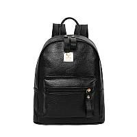 Молодежный женский рюкзак черный из экокожи