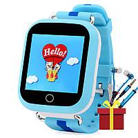 Детские смарт-часы UWatch Q100S Blue с GPS трекером экран 1.54 сенсор Bluetooth IOS Сим карта