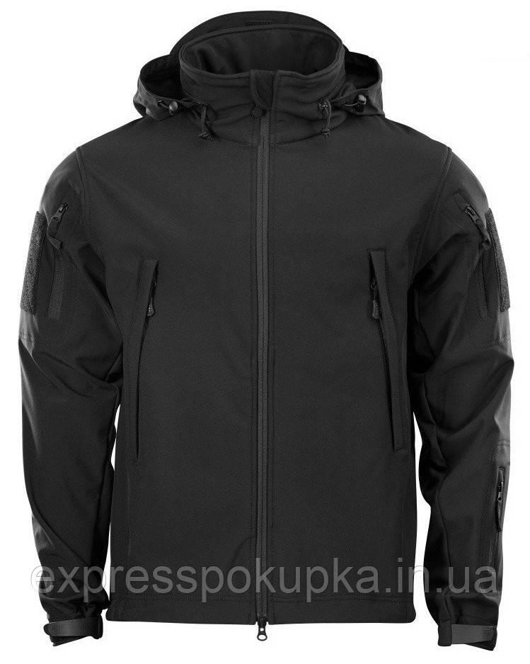 Куртка тактическая демисезонная Softshell Черная (Софтшелл)