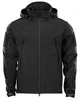 Куртка тактическая демисезонная Softshell Черная (Софтшелл), фото 1