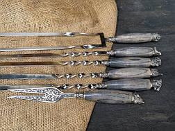 """Подарочный набор для шашлыка """"Ясень охота"""" с шампурами и вилкой, в кожаном колчане, фото 3"""