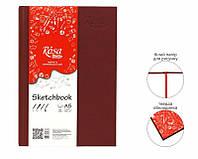 """Скетчбук для графики 100г мелкое зерно книж.форм. """"ROSA STUDIO"""" 96л А5 14,8*21см БОРДО обкладинка"""