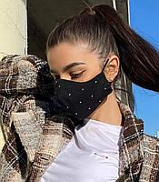 Маска для лица защитная, защитная модная тканевая маска декорирована стразами