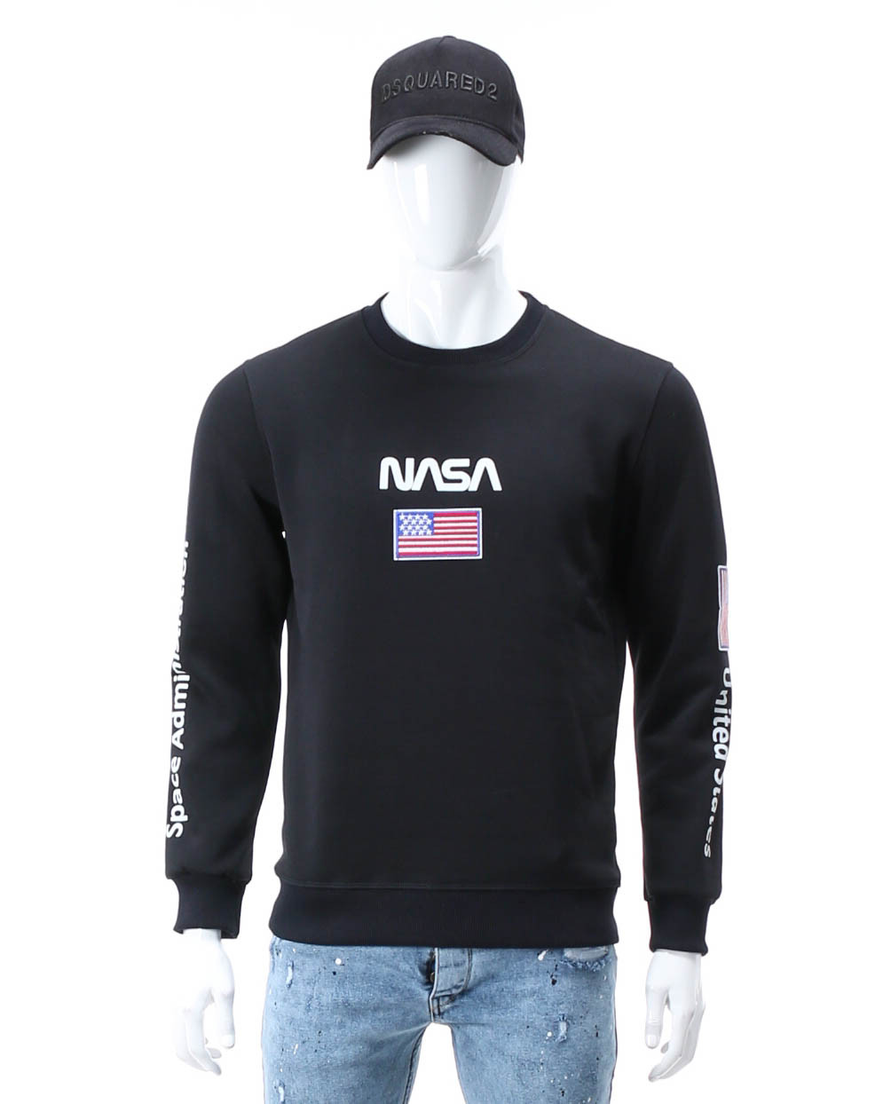 Свитшот осень-зима т синий NASA №5 патч, рис на рукавах DBLU M(Р) 20-522-003-003
