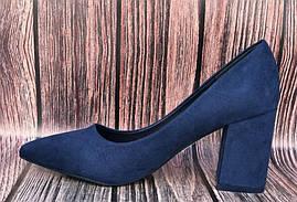 Синие туфли на широком каблуке из замши