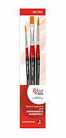 Набір пензлів з синтетики №6 (3шт, коротка ручка: плоска №10, кругла №2, 5) ROSA Studio