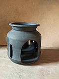 Підсвічник авторський глиняний з чоронодимленої кераміки, фото 3