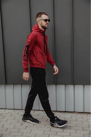 Спортивный костюм мужской весенний красный в стиле FILA. Кофта + штаны. Спортивний костюм чоловічий, фото 2