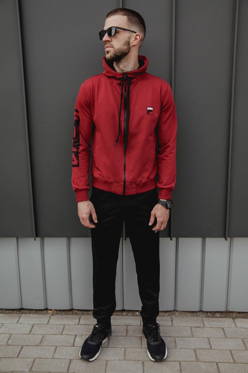 Спортивный костюм мужской весенний красный в стиле FILA. Кофта + штаны. Спортивний костюм чоловічий