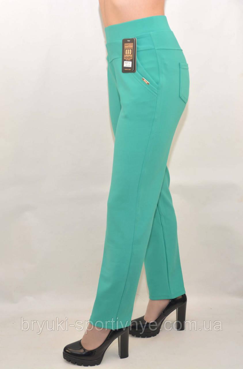 Штани жіночі літні для офісу у великих розмірах (Польща) - дайвінг зелений 2XL\3XL