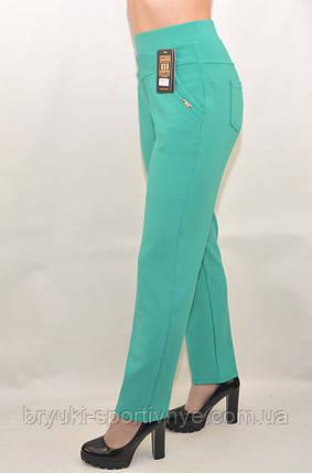Штани жіночі літні для офісу у великих розмірах (Польща) - дайвінг зелений 2XL\3XL, фото 2