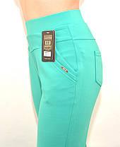 Штани жіночі літні для офісу у великих розмірах (Польща) - дайвінг зелений 2XL\3XL, фото 3