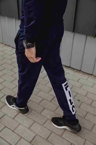 Спортивный костюм мужской весенний синий в стиле FILA. Кофта + штаны. Спортивний костюм чоловічий, фото 2