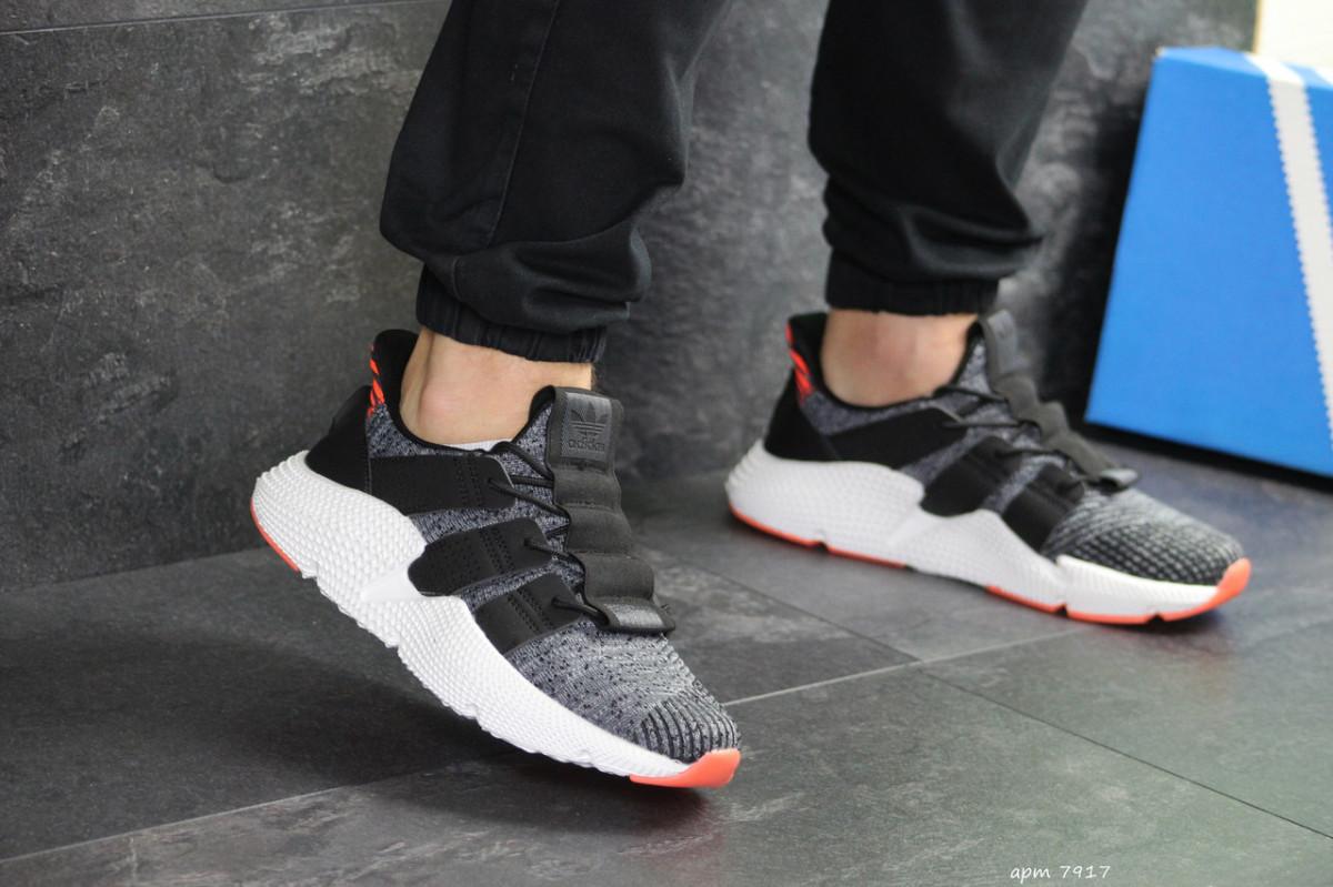 Мужские кроссовки серые с белым и оражевым Adidas 7917