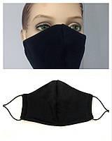 Защитная маска многоразовая двухслойная чёрная, 1 шт, фото 1