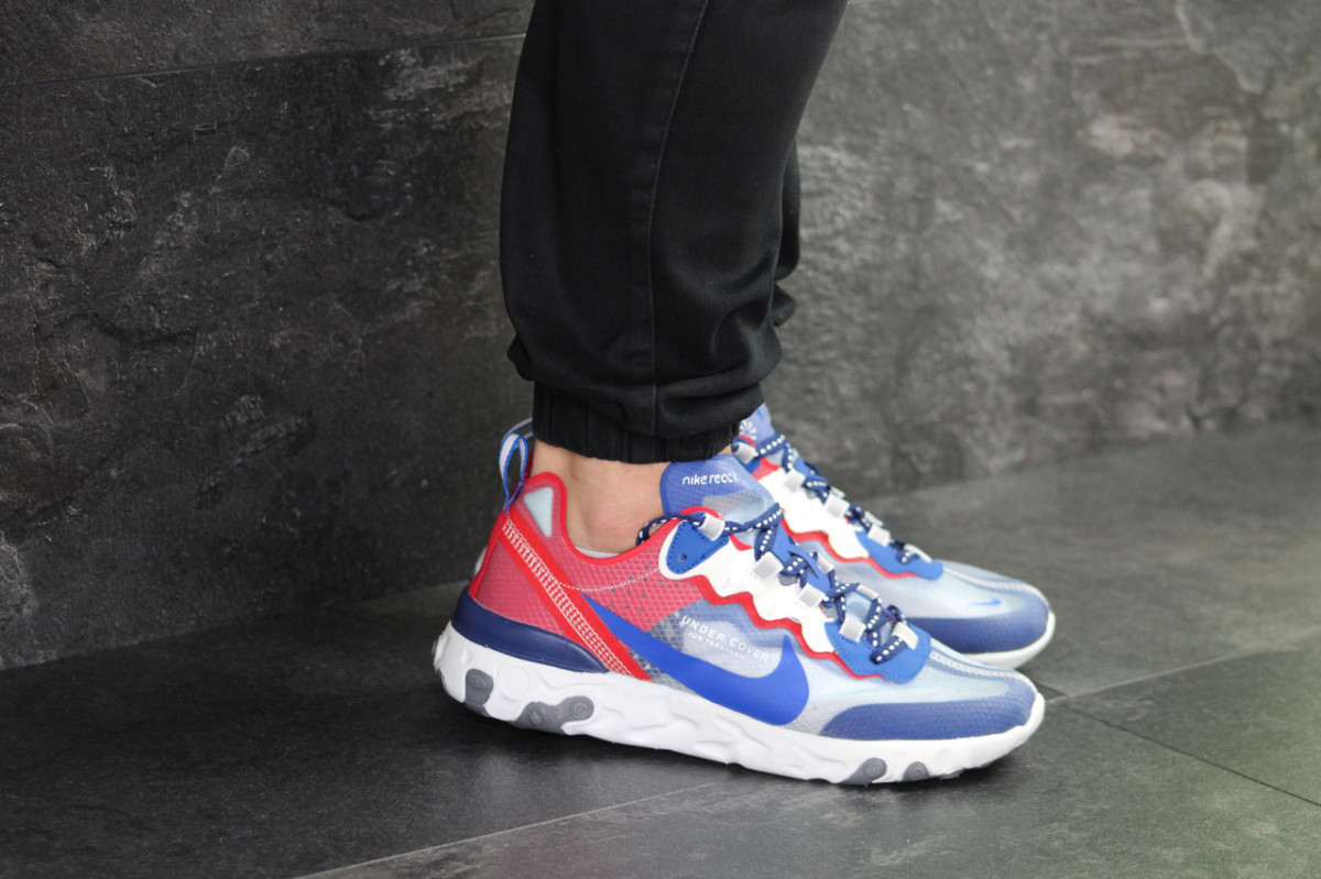 Мужские кроссовки синие с красным Nike Undercover X Nike React Element 87 7910