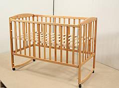 Детская кроватка Гойдалка AMELI с регулируемой боковиной на полозьях бук натуральный