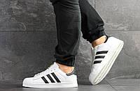 Кроссовки мужские Adidas Superstar в стиле Адидас Суперстар, натуральная кожа, текстиль код SD-8135. Белые 44
