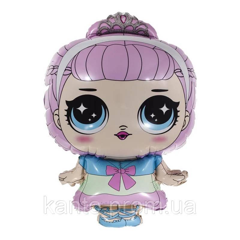 Шар фольгированный Кукла Лол с короной 48х78 см
