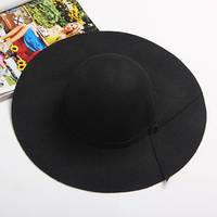 Шляпа женская широкополая черная
