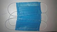 Защитная повязка трёхслойная синяя. Цена за упаковку - 35 штук