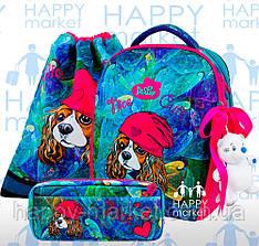 Набор школьный ранец ортопедический каркасный для девочки Собака DeLune 7-148