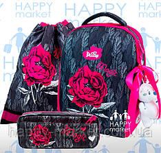 Набор школьный Ранец ортопедический каркасный c для девочки Цветы DeLune 7-149