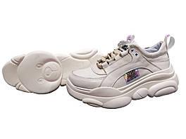 Женские кожаные кроссовки (бежевые)