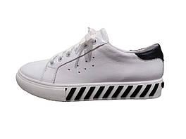 Женские кожаные кроссовки (белые)