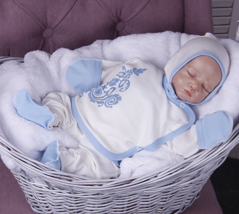 """Трикотажный набор для новорожденных, """"Monogram"""" голубой"""