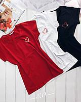 Женская  стильная футболка с сердечком в расцветках