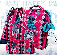 Набор школьный ранец ортопедический каркасный для девочки Собака DeLune 7mini-018