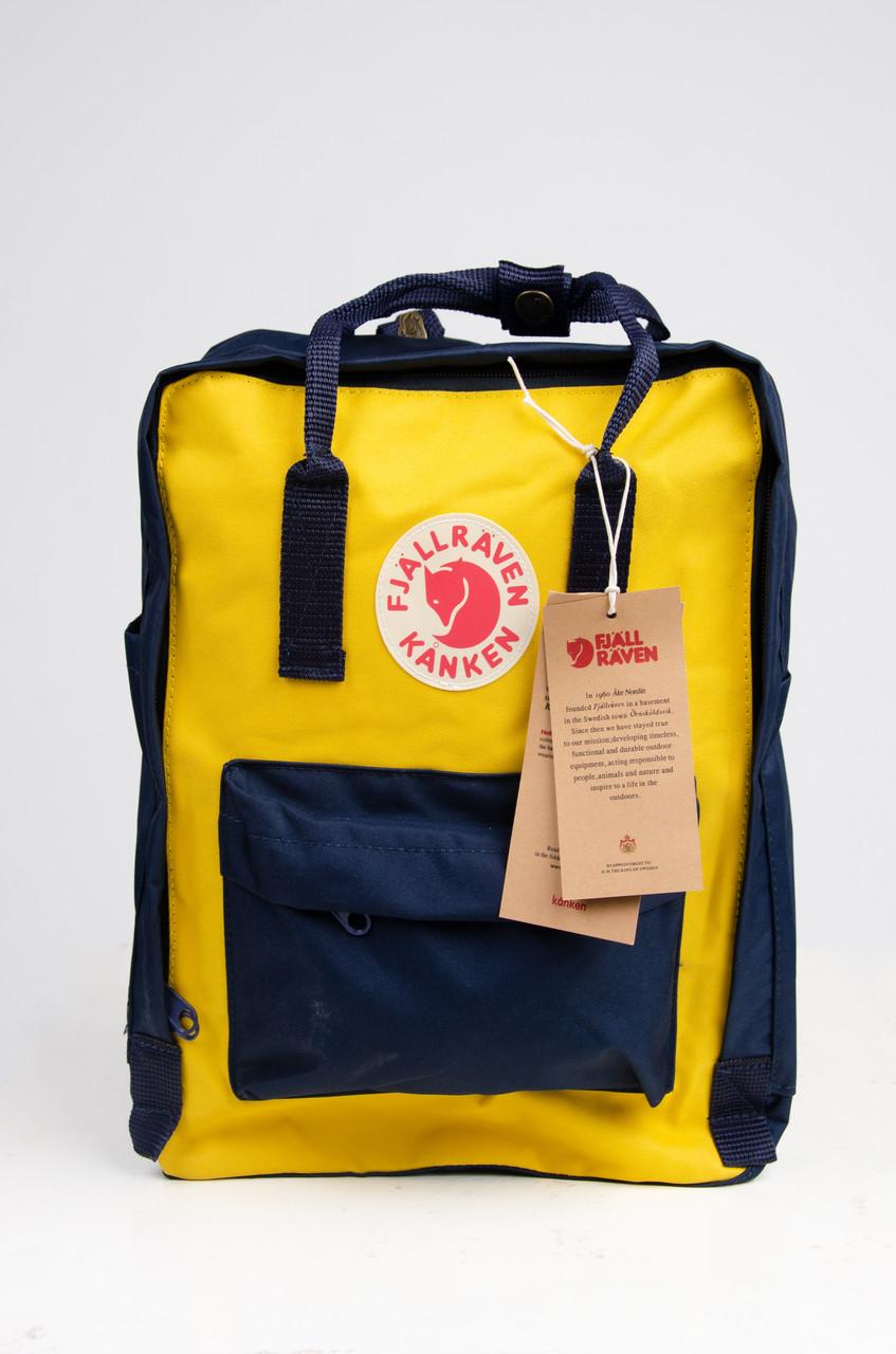 Яскравий рюкзак Fjallraven Kanken Classic 16 л, жовто-чорний