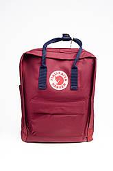 Городской рюкзак Fjallraven Kanken Classic 16 л с синими лямками, красный