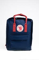 Рюкзак Fjallraven Kanken Classic 16 л с красными лямками, темно-синий