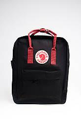 Яркий рюкзак Fjallraven Kanken Classic 16 л с красными ручками, черный