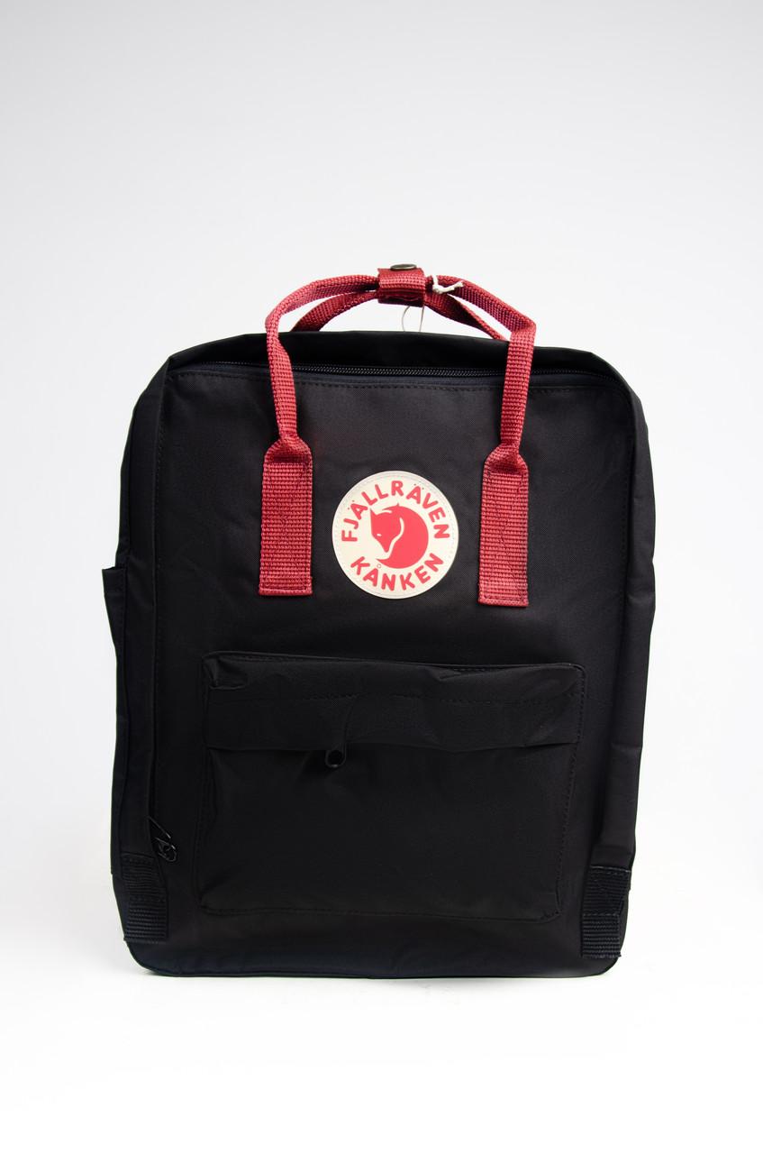 Яскравий рюкзак Fjallraven Kanken Classic 16 л з червоними ручками, чорний
