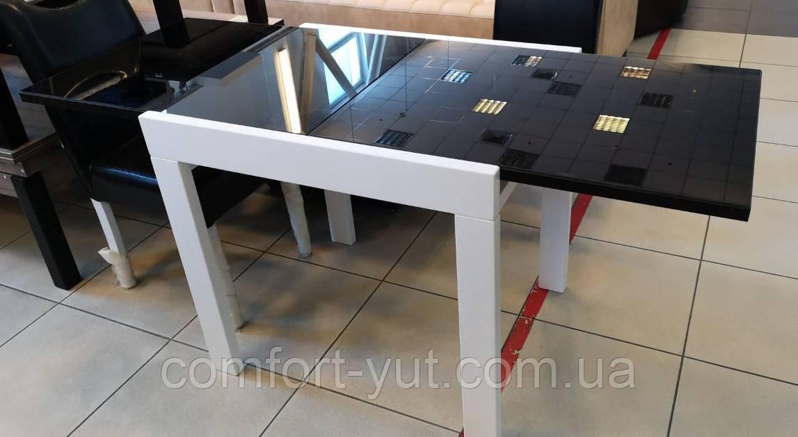 Стол обеденный Слайдер  Белый со стеклом Черный, 100(+100)*82см