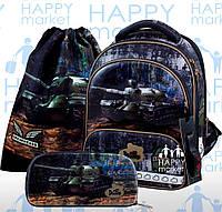 Ранец школьный ортопедический каркасный для мальчика Танк DeLune 9 серия 9-128