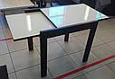 Стол обеденный Слайдер Венге со стеклом Ультрабелый, 100(+100)*82*67см, фото 3