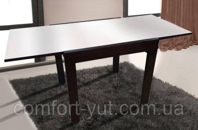 Стол обеденный Слайдер Венге со стеклом Ультрабелый, 100(+100)*82*67см