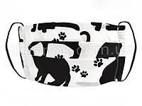 Маска многоразовая защитная, натуральная (хлопок), для мужчин, женщин и детей. Взрослый, Котики на белом фоне