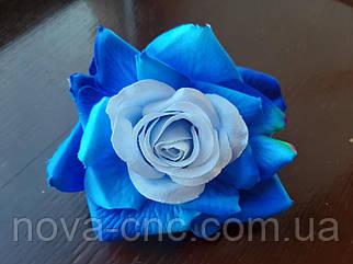 Роза открытая, тканевая синий 12 см 15 шт в упаковке