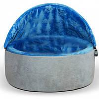 Домик-лежак для собак и котов само-согревающийся K&H Kitty Hooded, сине-серый, США.