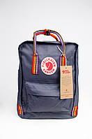 Рюкзак Fjallraven Kanken Classic Rainbow 16л Топ якість сірий з райдужними ручками